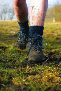 Trecking socks snared while hiking
